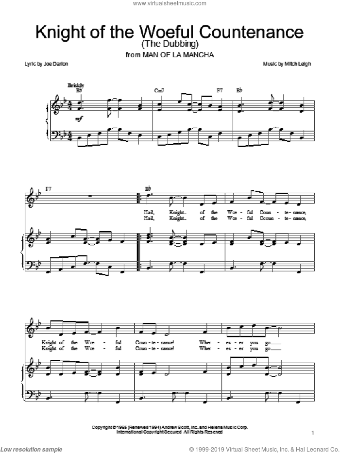Knight Of The Woeful Countenance (The Dubbing) sheet music for voice, piano or guitar by Joe Darion, Man Of La Mancha (Musical) and Mitch Leigh, intermediate skill level