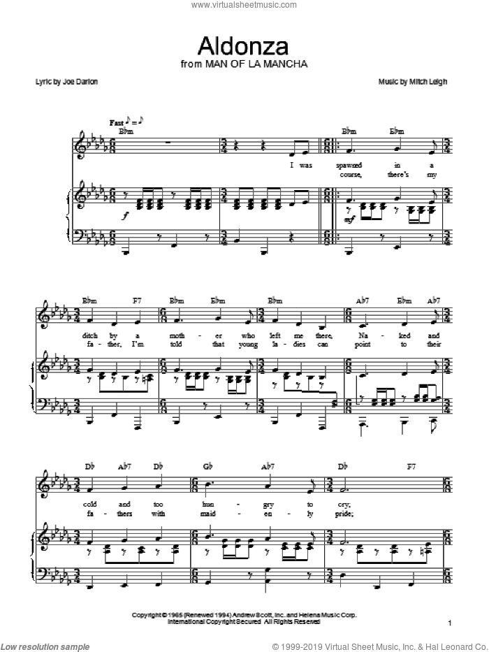 Aldonza sheet music for voice, piano or guitar by Joe Darion, Man Of La Mancha (Musical) and Mitch Leigh, intermediate skill level