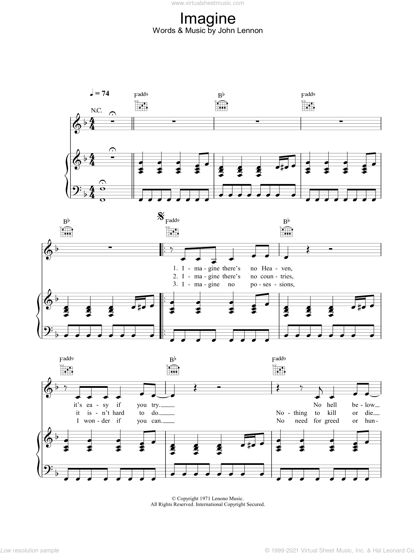 Imagine sheet music for voice, piano or guitar by Alex Parks and John Lennon, intermediate skill level