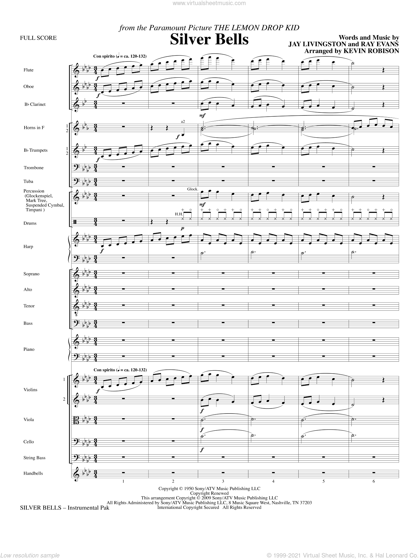 Silver Bells sheet music for orchestra/band (full score) by Jay Livingston