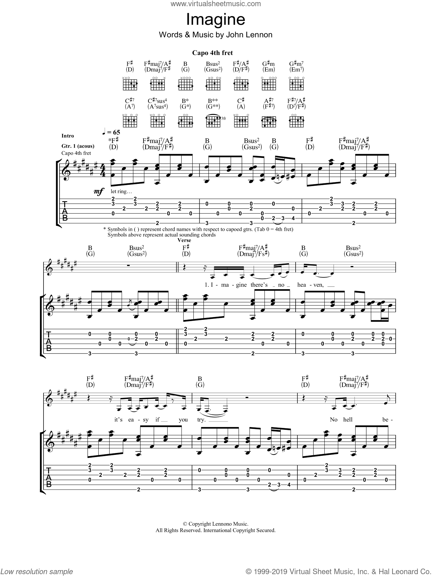 Imagine sheet music for guitar (tablature) by Eva Cassidy and John Lennon. Score Image Preview.