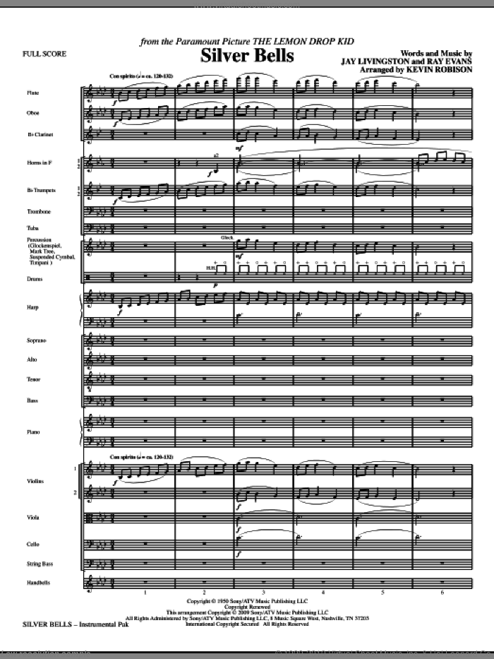 Silver Bells (COMPLETE) sheet music for orchestra/band (Orchestra) by Jay Livingston, Ray Evans and Kevin Robison, intermediate skill level