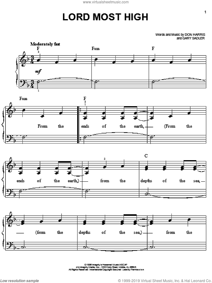 Lord Most High sheet music for piano solo by The Martins, Don Harris and Gary Sadler, easy skill level