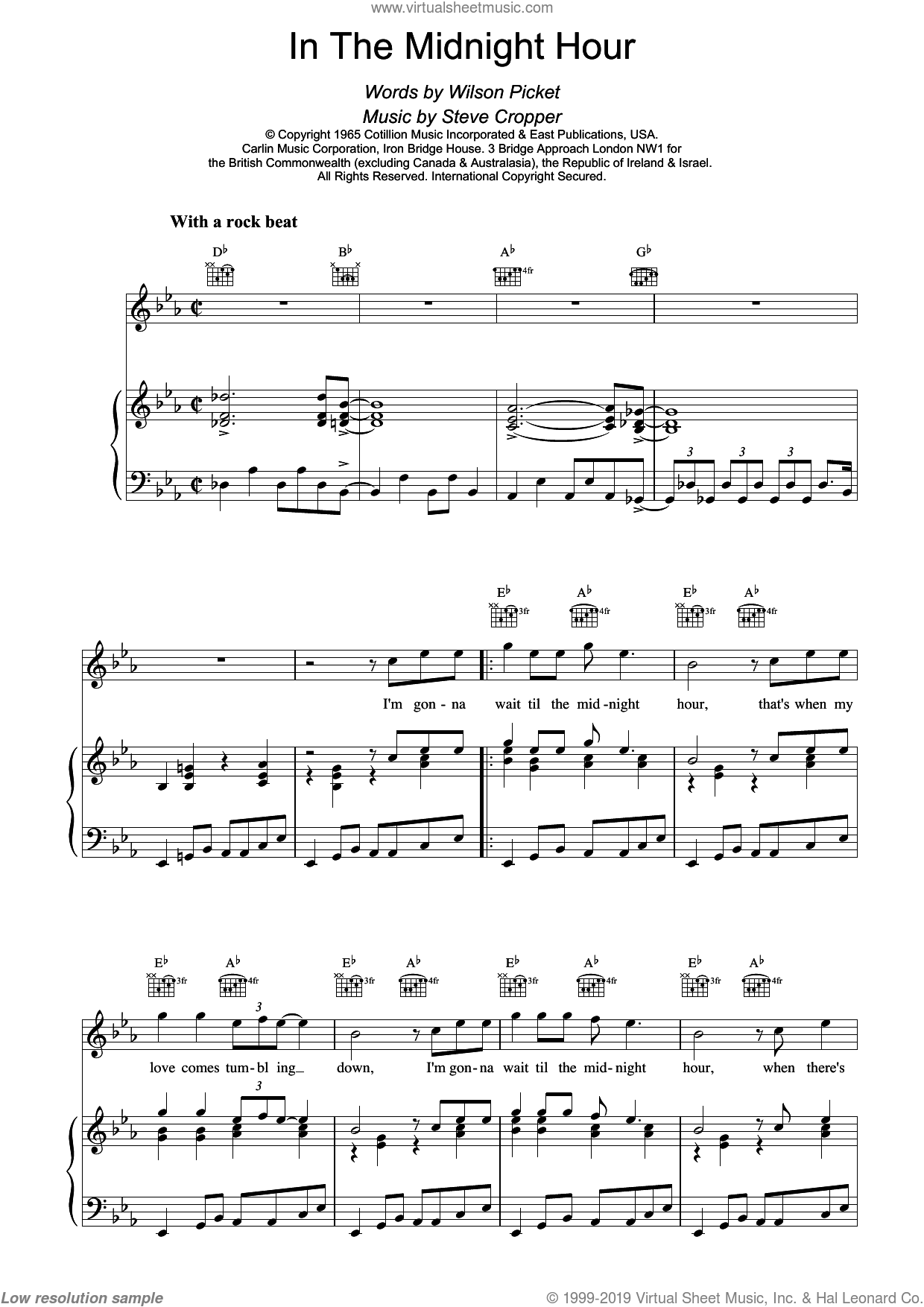 In The Midnight Hour sheet music for voice, piano or guitar by Wilson Picket and Wilson Pickett, intermediate skill level