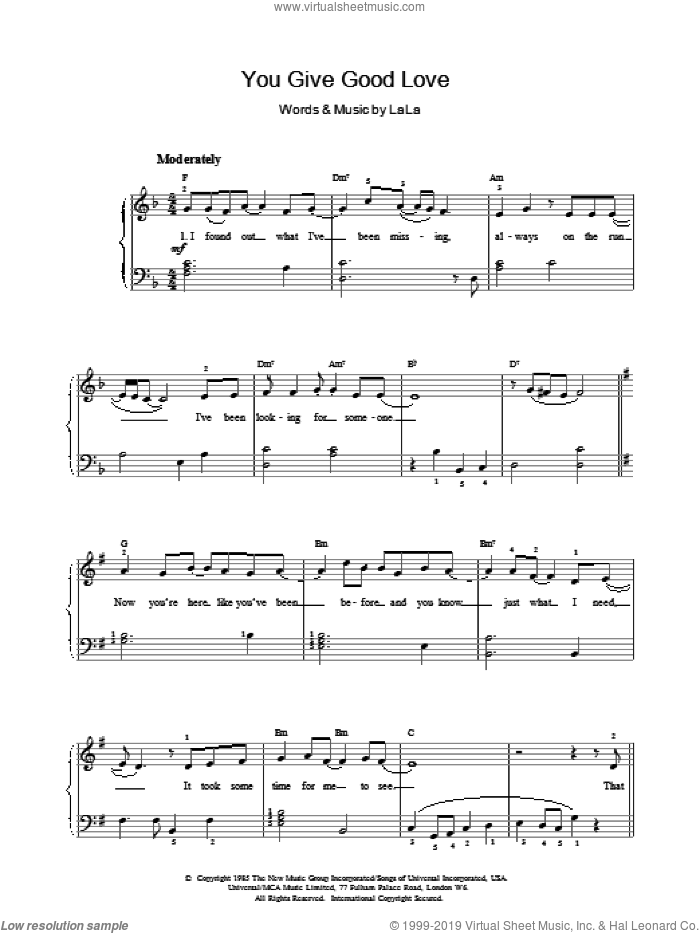 You Give Good Love sheet music for voice, piano or guitar by Whitney Houston, intermediate skill level