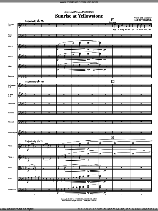 Sunrise At Yellowstone (COMPLETE) sheet music for orchestra by Audrey Snyder