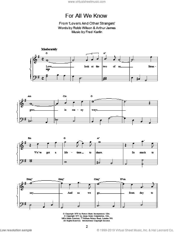 For All We Know sheet music for piano solo by Robb Wilson, Carpenters and Fred Karlin. Score Image Preview.