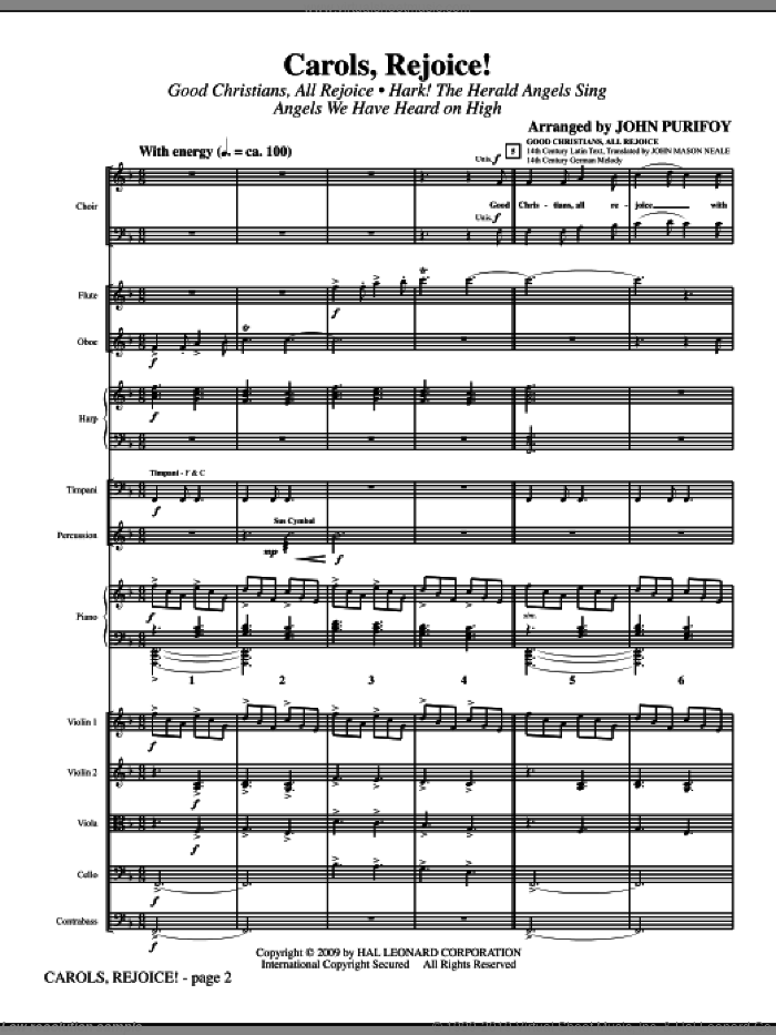 Carols, Rejoice! (Medley) (COMPLETE) sheet music for orchestra/band by John Purifoy, intermediate. Score Image Preview.