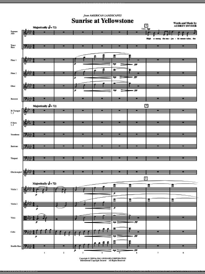 Sunrise At Yellowstone (COMPLETE) sheet music for orchestra/band (chamber ensemble) by Audrey Snyder, intermediate skill level