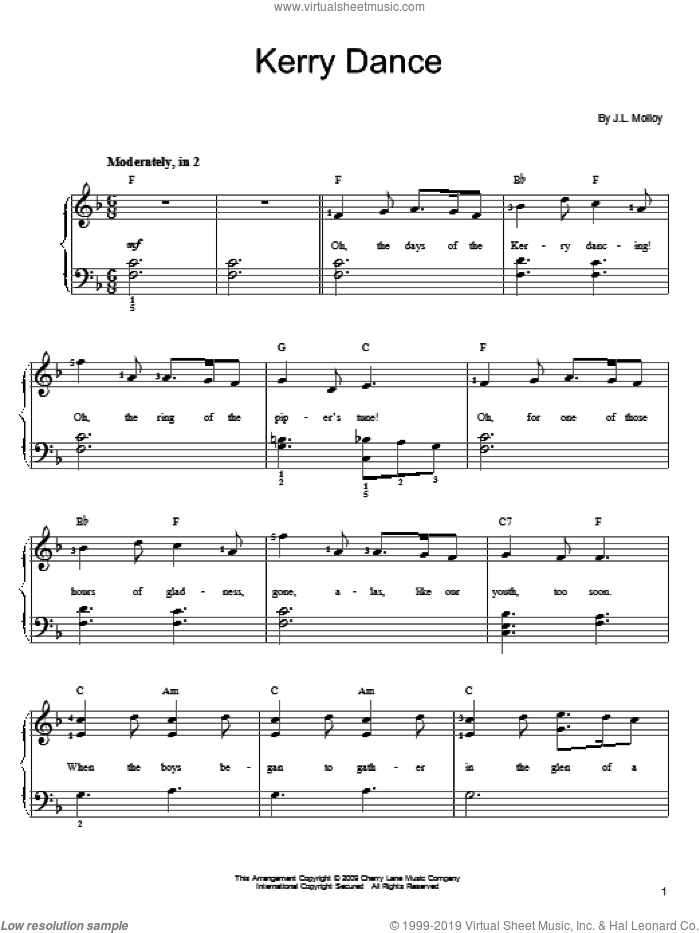 Kerry Dance sheet music for piano solo (chords) by James Molloy