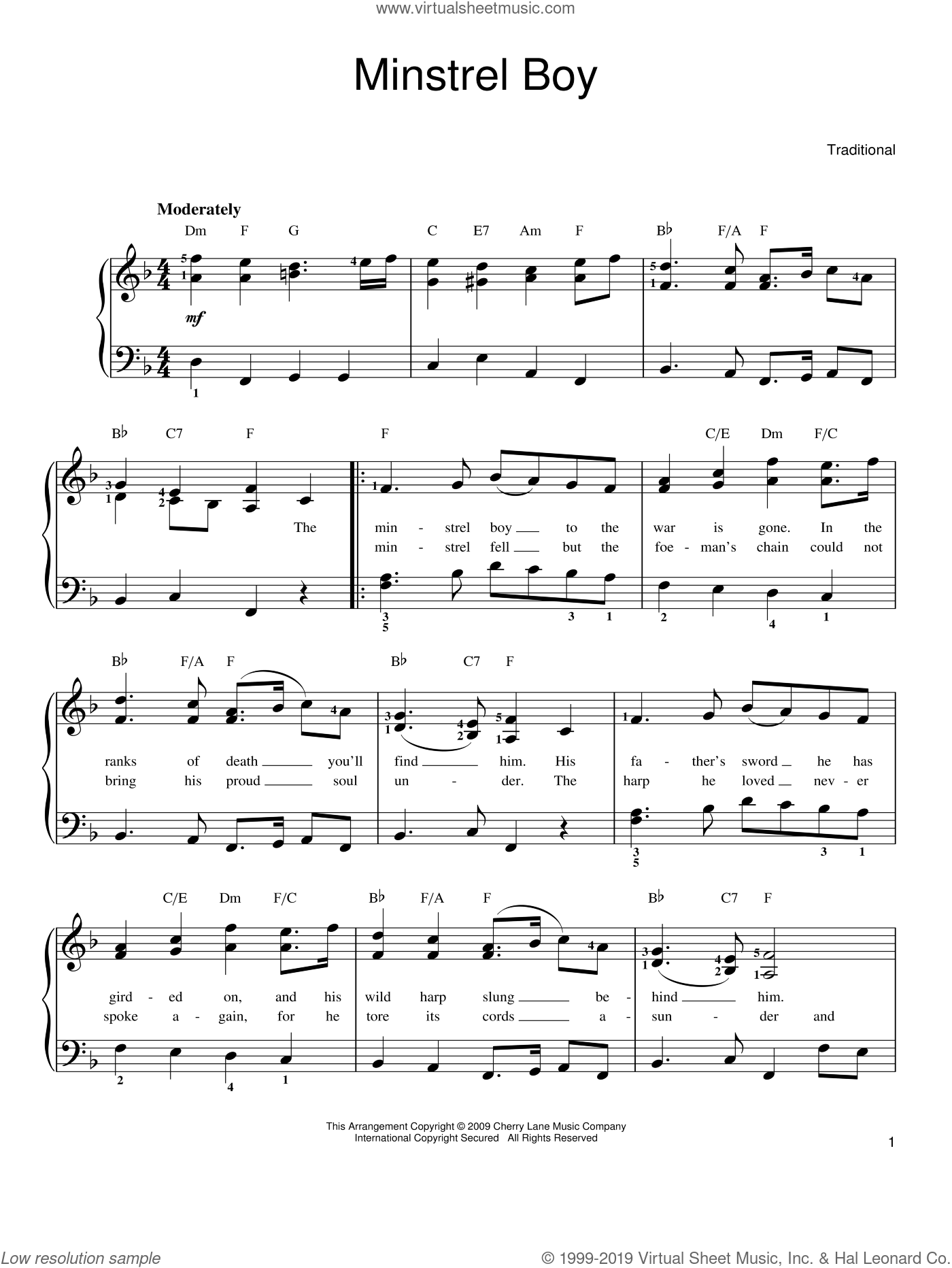 Minstrel Boy sheet music for piano solo. Score Image Preview.