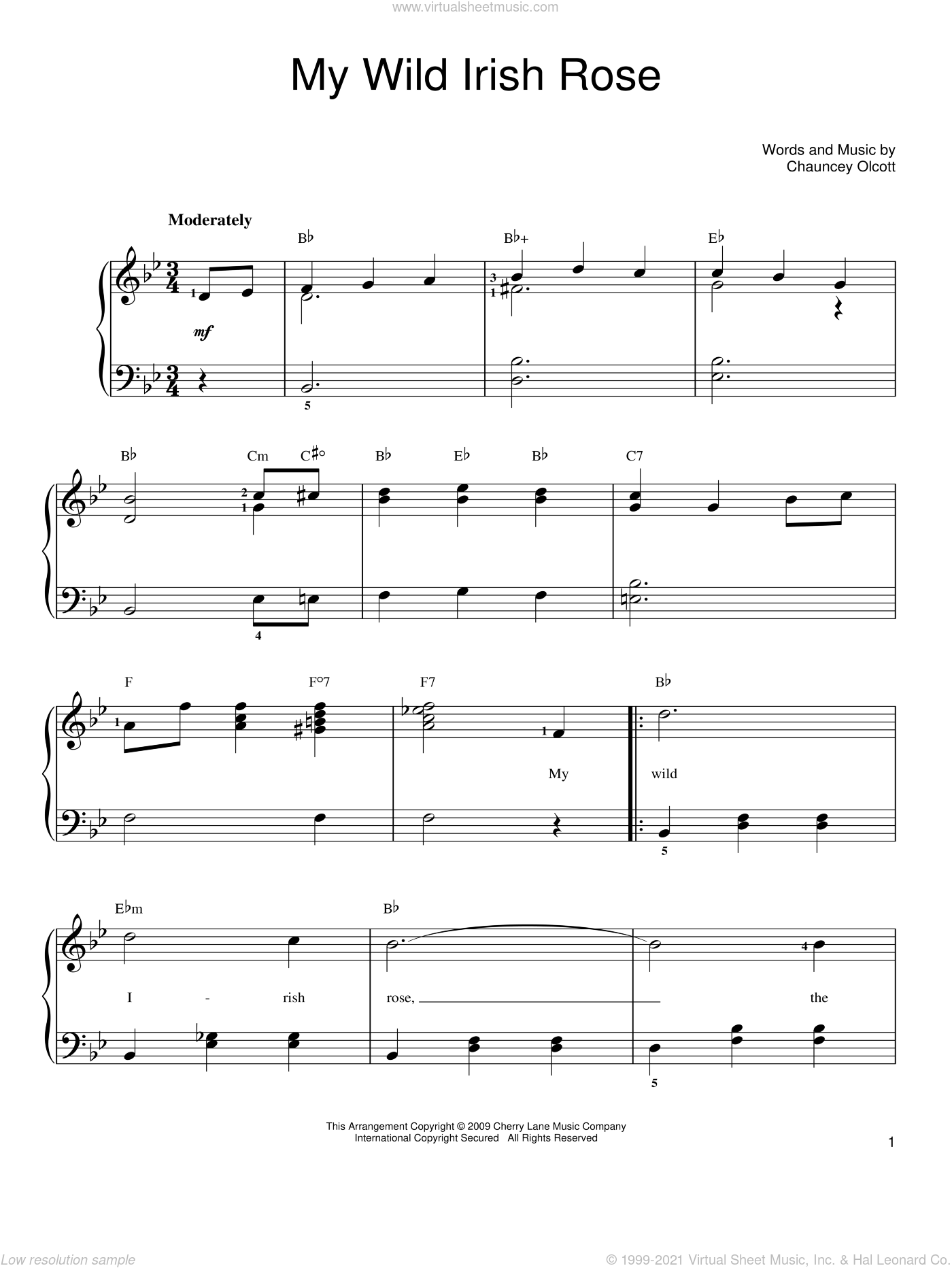 My Wild Irish Rose sheet music for piano solo by Chauncey Olcott. Score Image Preview.