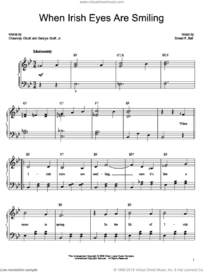When Irish Eyes Are Smiling sheet music for piano solo (chords) by George Graff Jr.