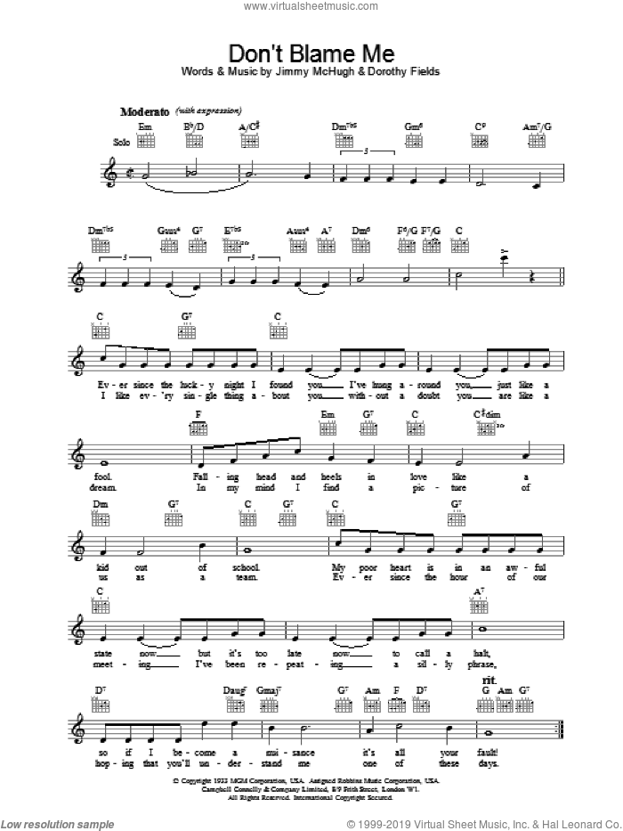 Don't Blame Me sheet music for voice and other instruments (fake book) by Dorothy Fields, intermediate skill level