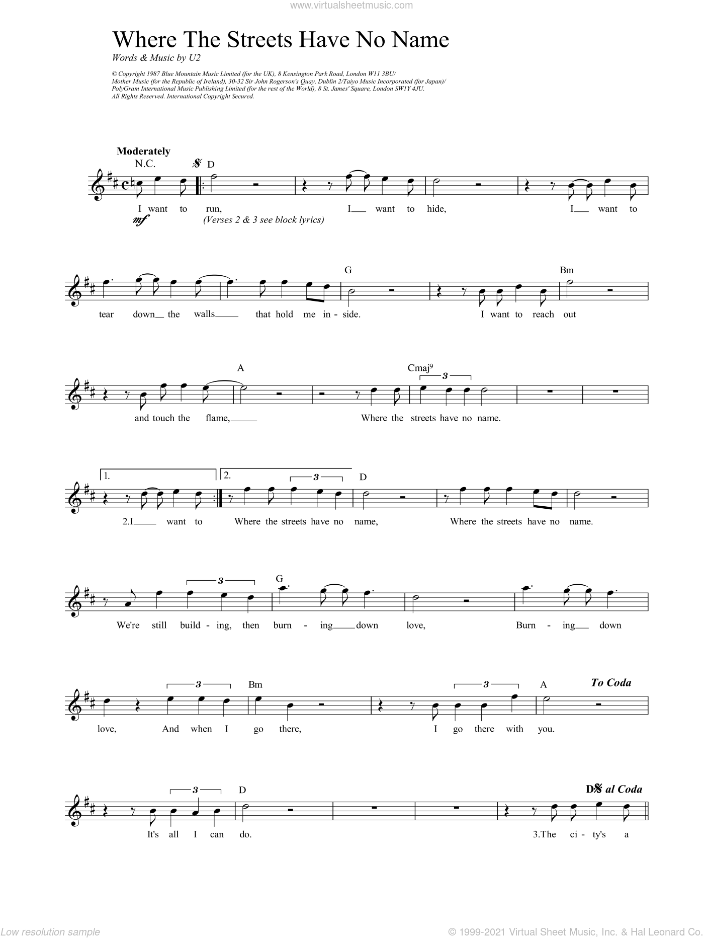 Where The Streets Have No Name sheet music for voice and other instruments (fake book) by U2. Score Image Preview.