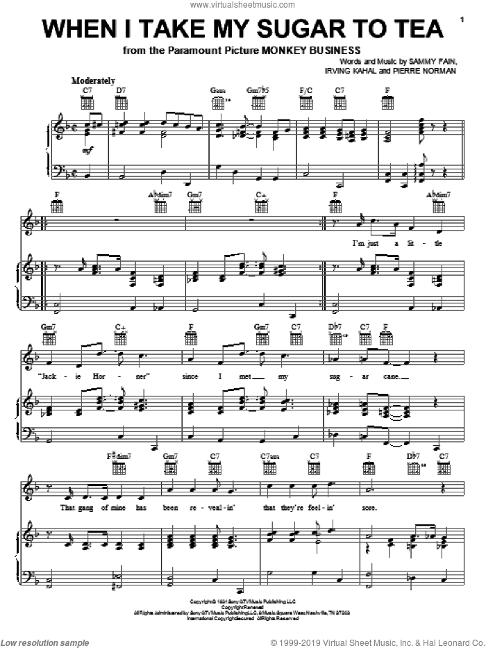 When I Take My Sugar To Tea sheet music for voice, piano or guitar by Sammy Fain, Irving Kahal and Pierre Norman, intermediate skill level
