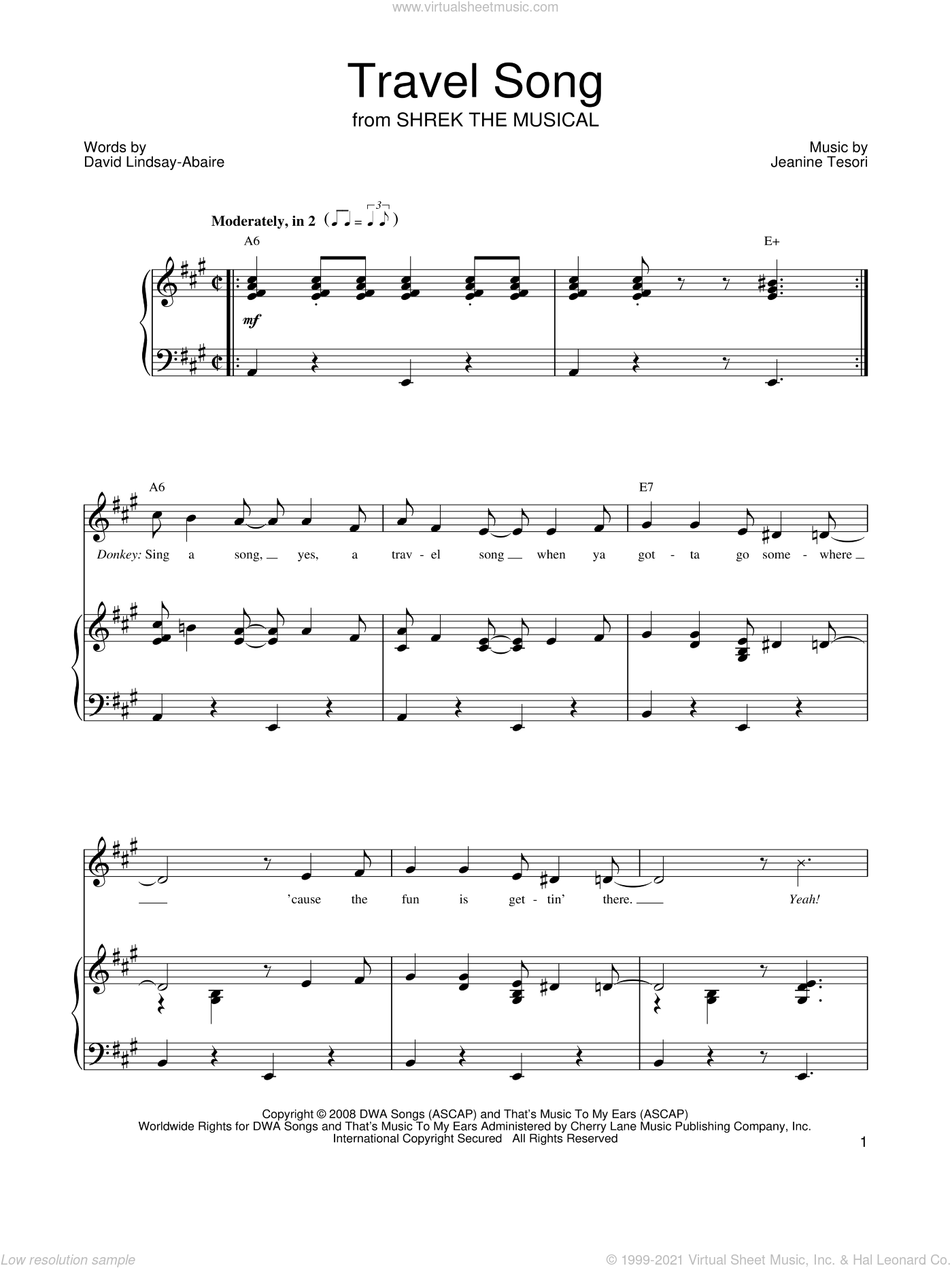 Travel Song sheet music for voice, piano or guitar by Shrek The Musical, David Lindsay-Abaire and Jeanine Tesori, intermediate. Score Image Preview.