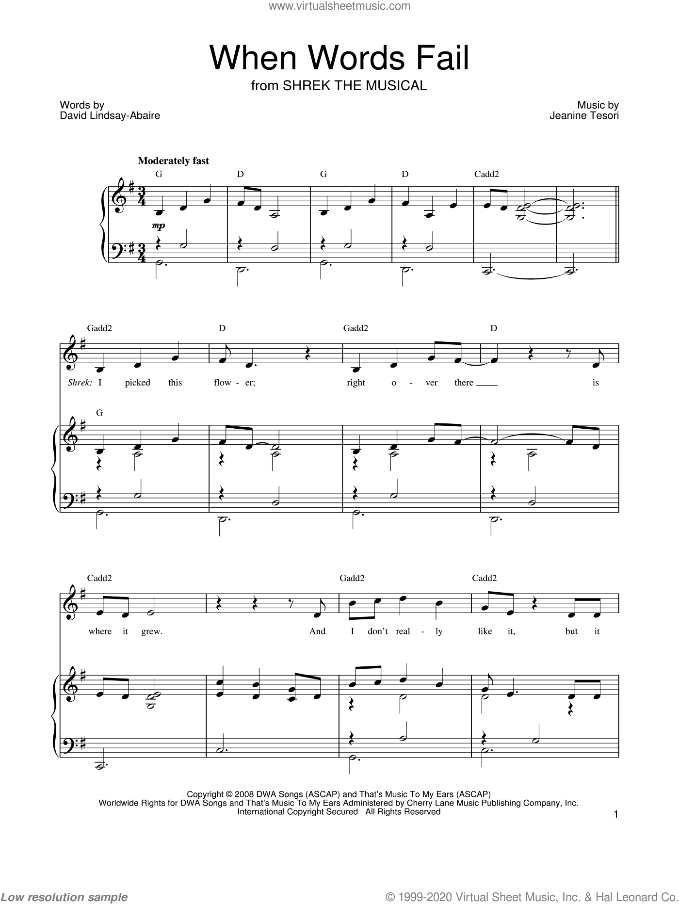 When Words Fail sheet music for voice, piano or guitar by Shrek The Musical, David Lindsay-Abaire and Jeanine Tesori, intermediate. Score Image Preview.