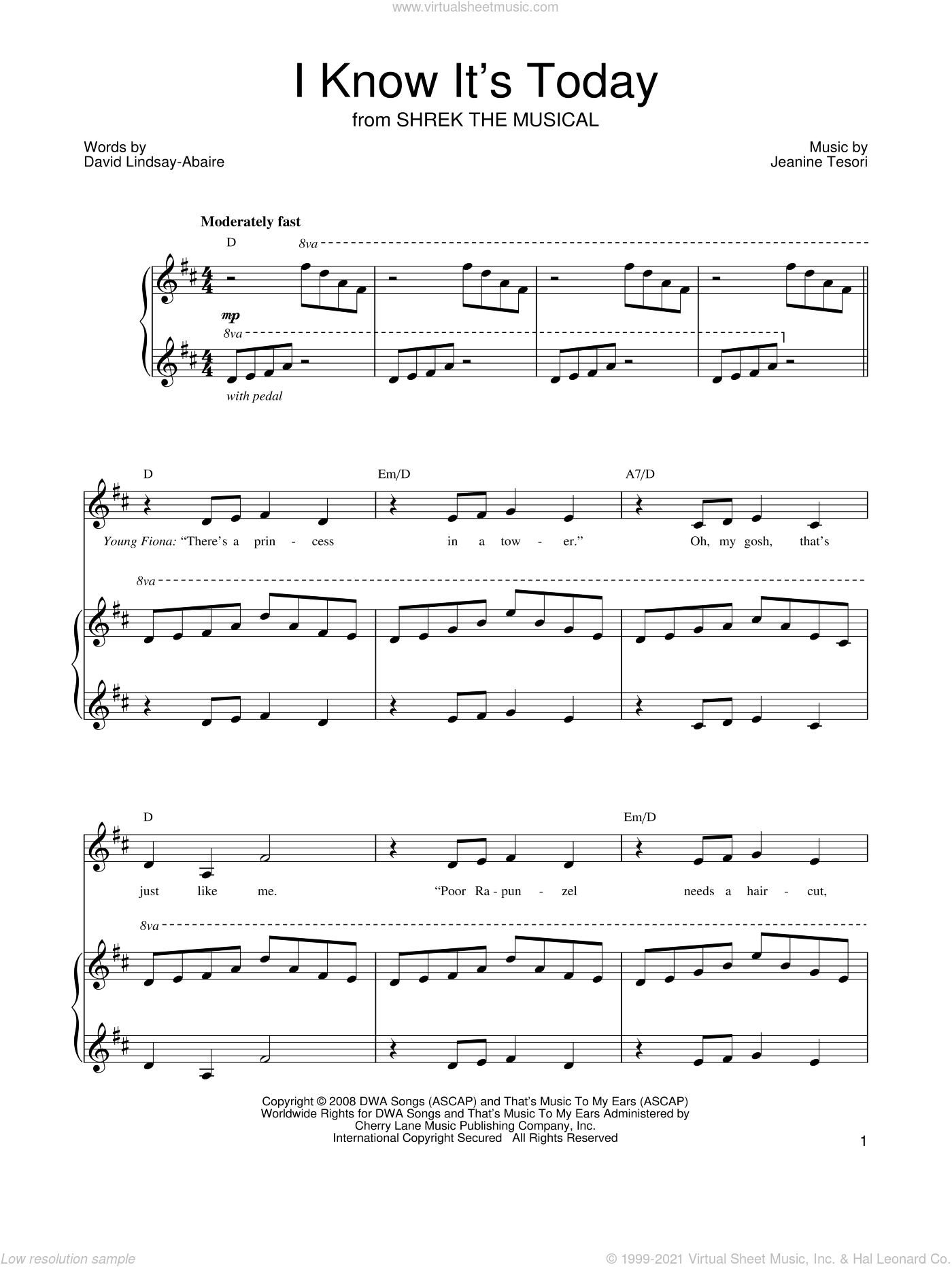I Know It's Today sheet music for voice, piano or guitar by Shrek The Musical, David Lindsay-Abaire and Jeanine Tesori. Score Image Preview.