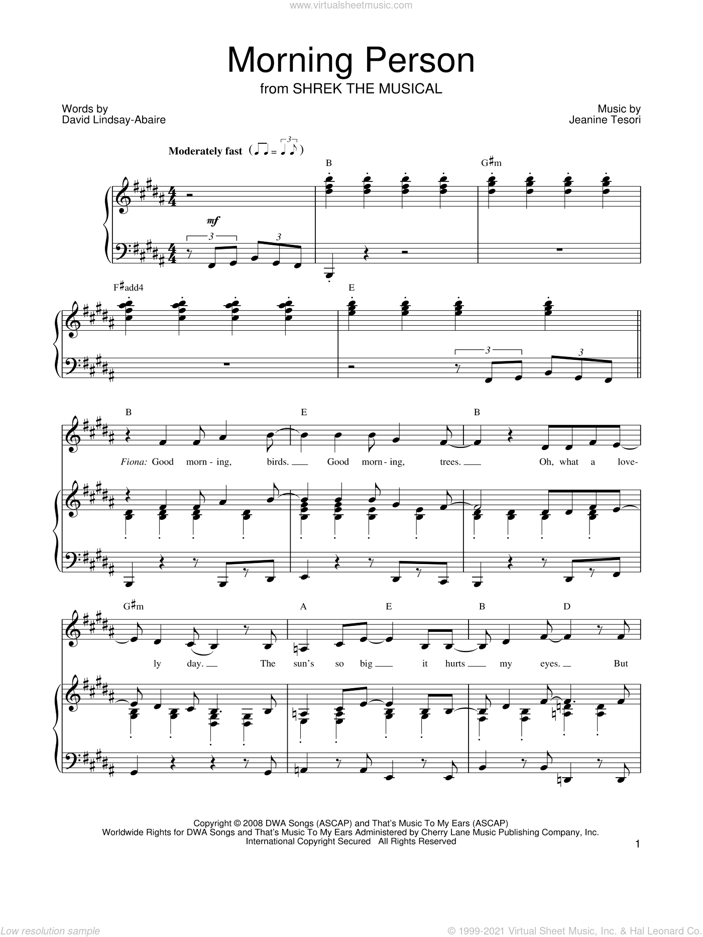 Morning Person sheet music for voice, piano or guitar by Jeanine Tesori and David Lindsay-Abaire. Score Image Preview.