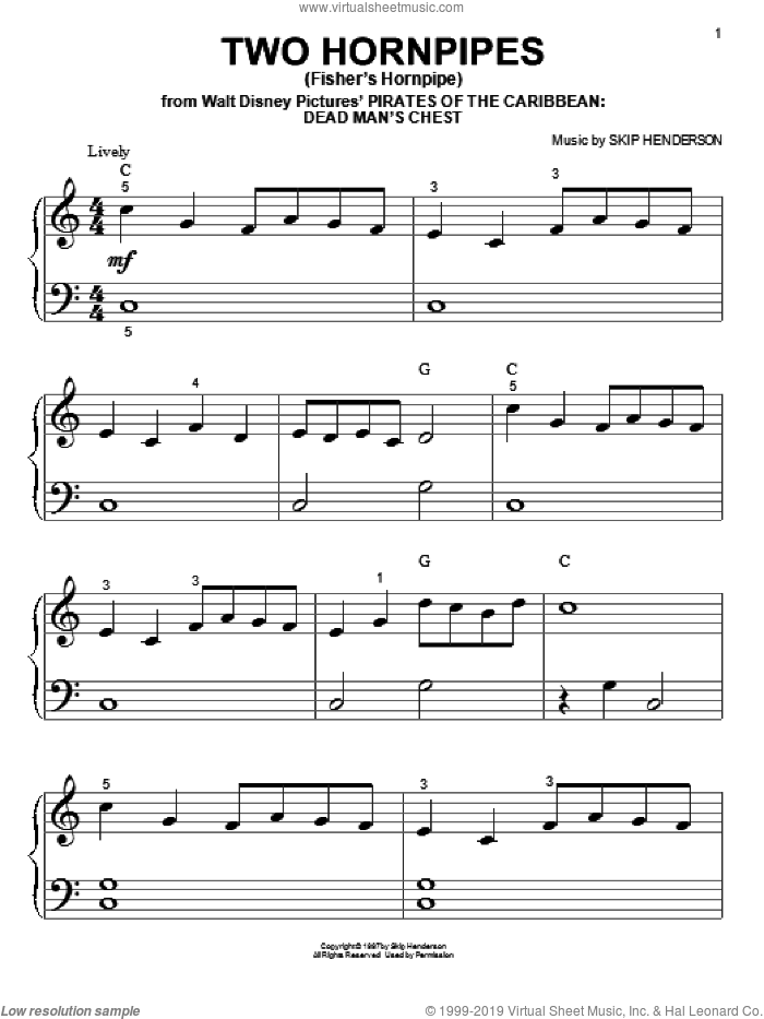 Two Hornpipes (Fisher's Hornpipe) sheet music for piano solo (big note book) by Skip Henderson, easy piano (big note book)