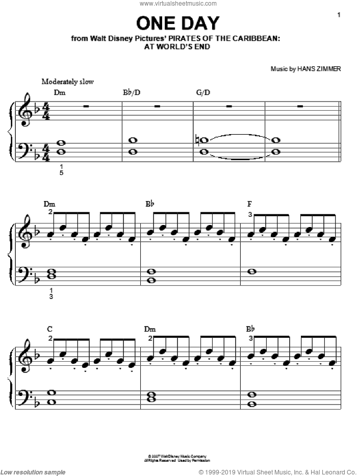 One Day sheet music for piano solo (big note book) by Hans Zimmer
