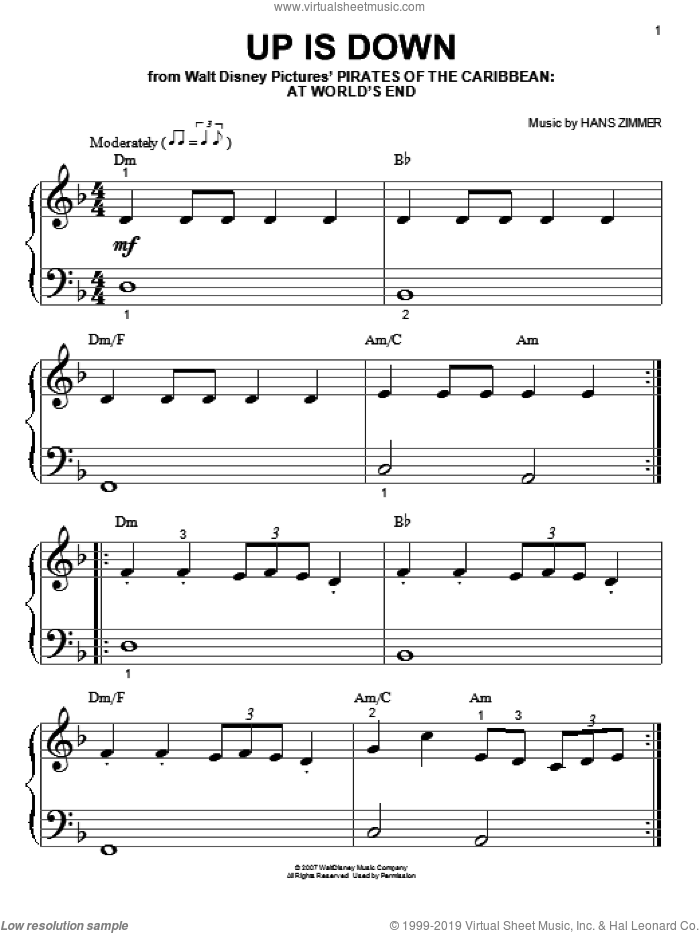 Up Is Down sheet music for piano solo (big note book) by Hans Zimmer, easy piano (big note book)