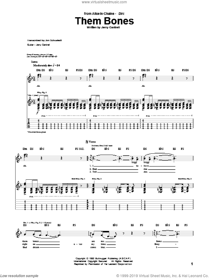 Them Bones sheet music for guitar (tablature) by Jerry Cantrell and Alice In Chains. Score Image Preview.