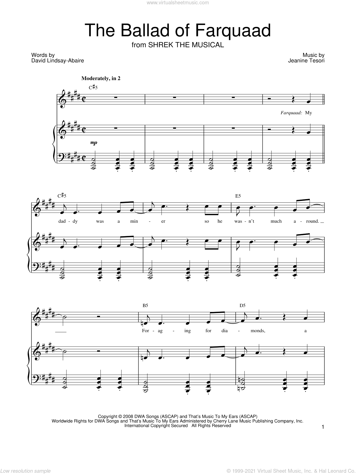 The Ballad of Farquaad sheet music for voice, piano or guitar by Shrek The Musical, David Lindsay-Abaire and Jeanine Tesori, intermediate skill level