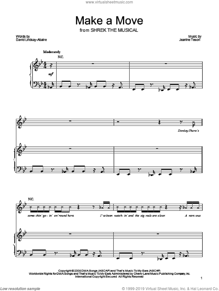 Make A Move sheet music for voice, piano or guitar by Shrek The Musical, David Lindsay-Abaire and Jeanine Tesori, intermediate skill level