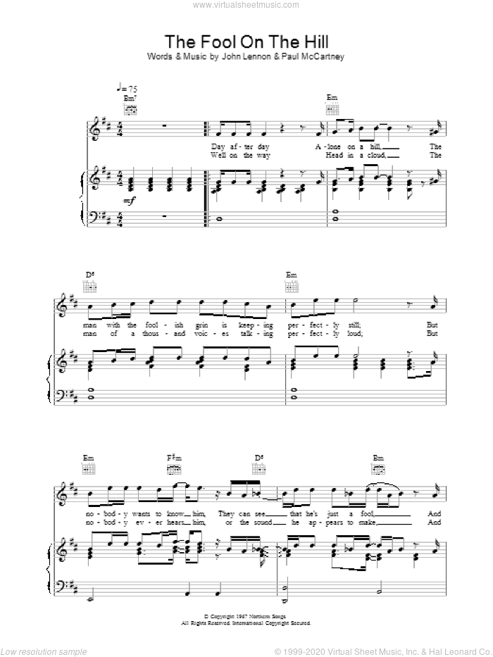The Fool On The Hill sheet music for voice, piano or guitar by The Beatles. Score Image Preview.