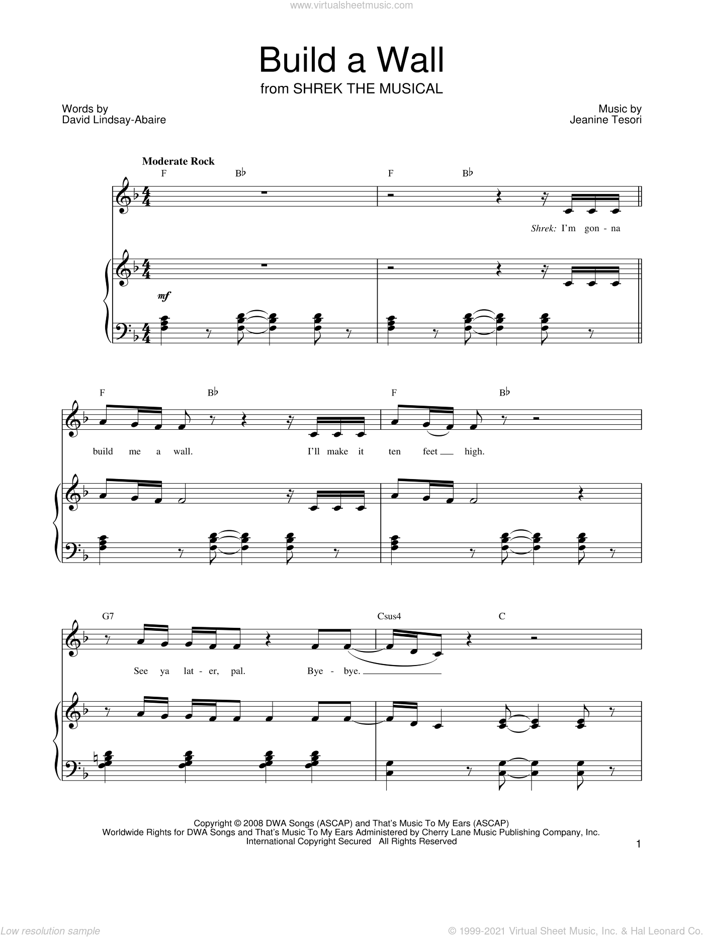 Build A Wall sheet music for voice, piano or guitar by Shrek The Musical, David Lindsay-Abaire and Jeanine Tesori, intermediate skill level