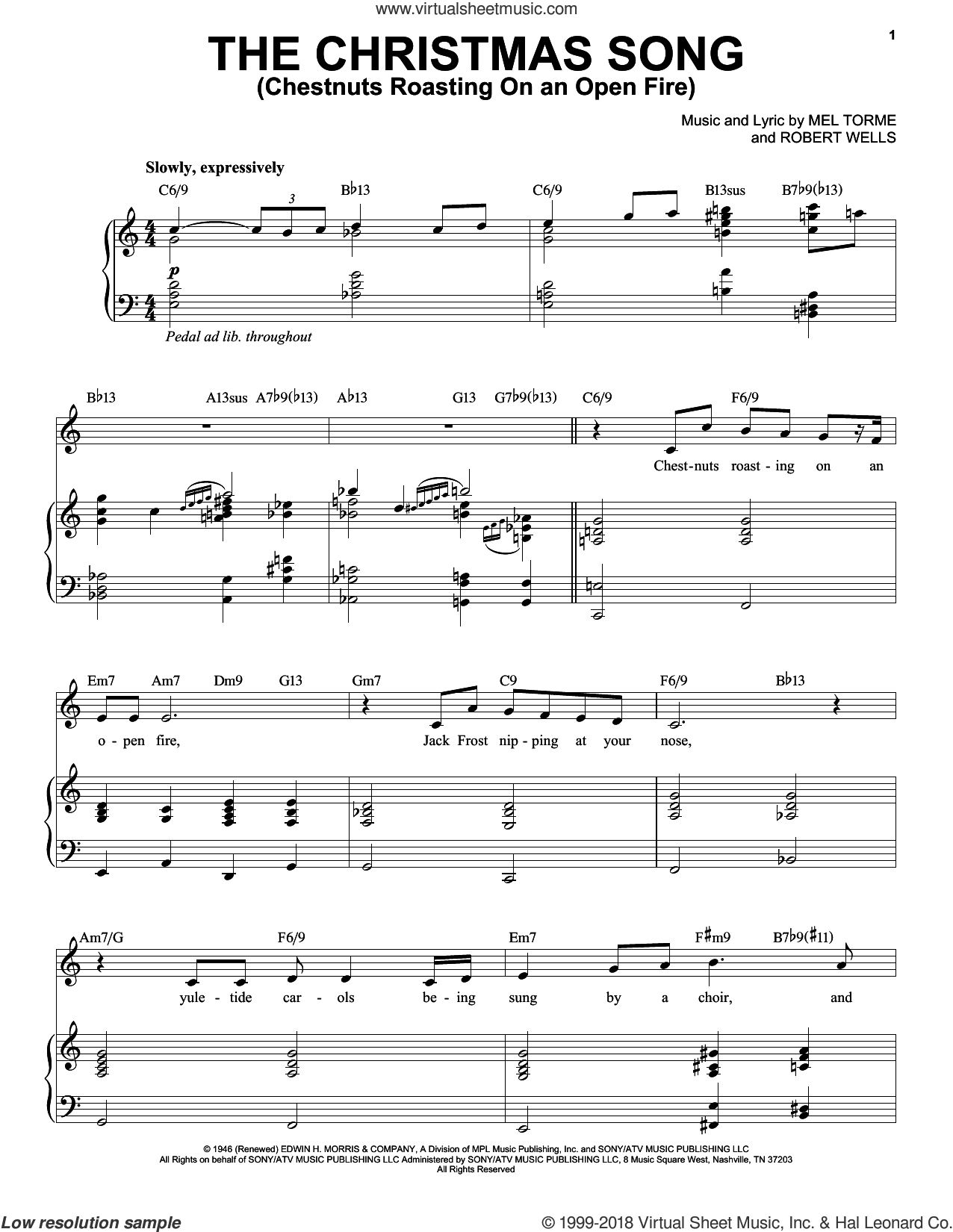 The Christmas Song (Chestnuts Roasting On An Open Fire) sheet music for voice and piano by Michael Buble, Mel Torme and Robert Wells, intermediate