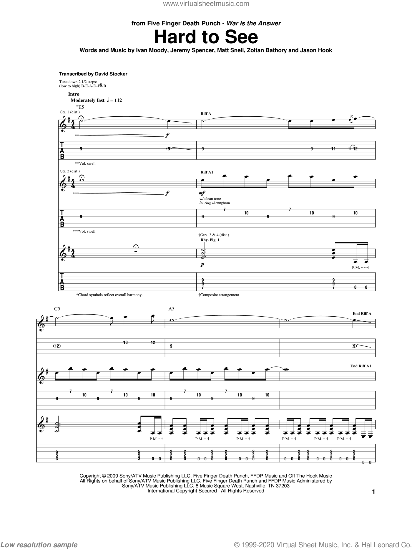 Hard To See sheet music for guitar (tablature) by Five Finger Death Punch, intermediate guitar (tablature). Score Image Preview.