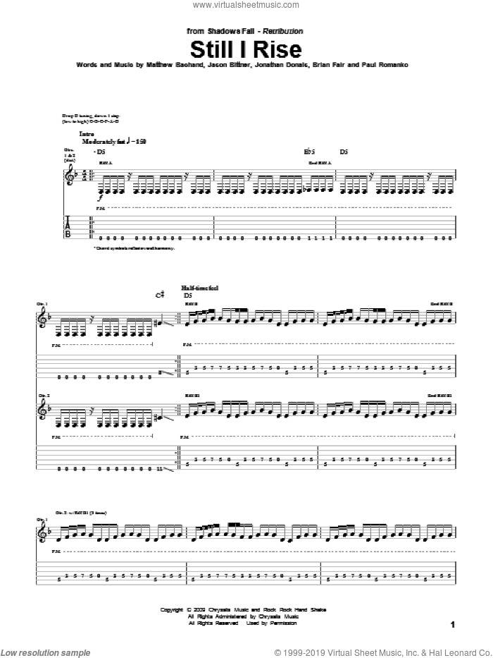 Still I Rise sheet music for guitar (tablature) by Paul Romanko. Score Image Preview.
