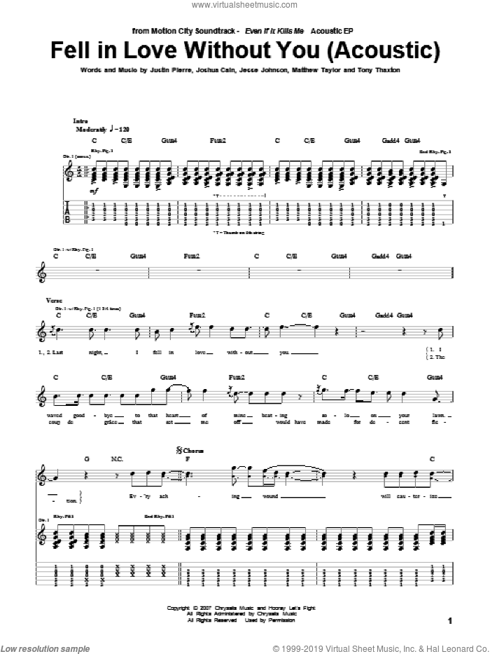 Fell In Love Without You (Acoustic Version) sheet music for guitar (tablature) by Motion City Soundtrack, intermediate guitar (tablature). Score Image Preview.