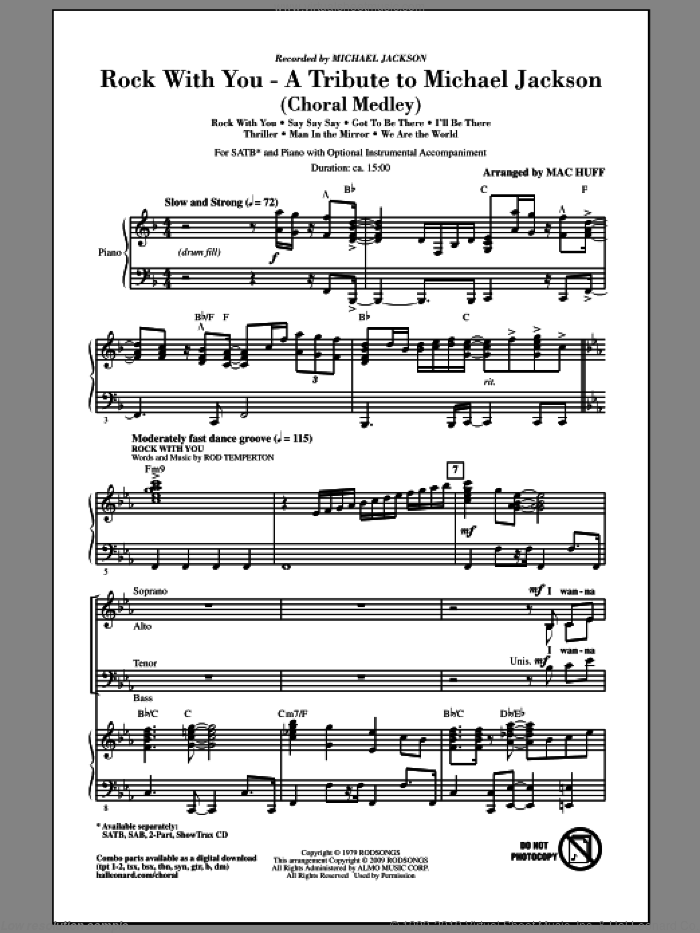 Rock With You - A Tribute to Michael Jackson (Medley) sheet music for choir (SATB) by Rod Temperton, Mac Huff and Michael Jackson. Score Image Preview.