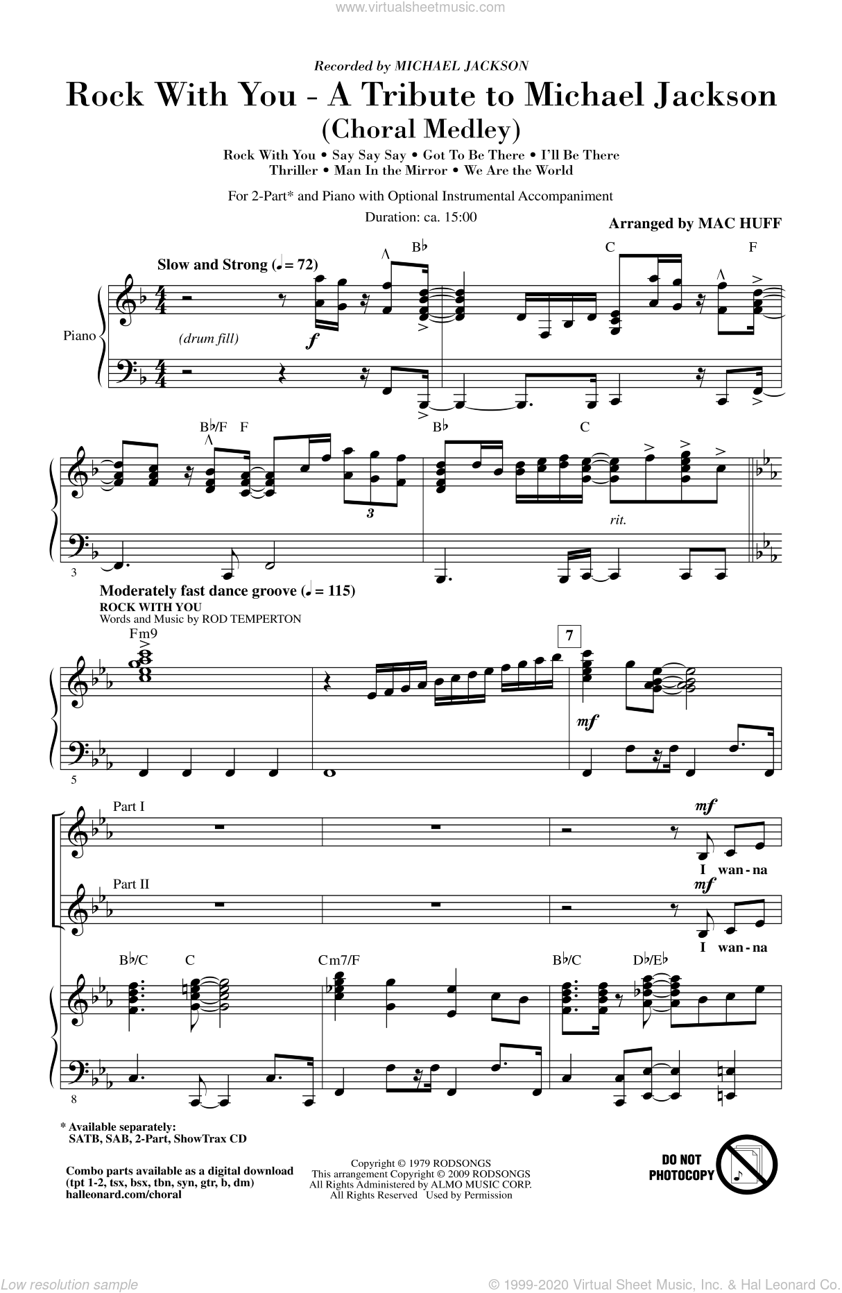 Rock With You - A Tribute to Michael Jackson (Medley) sheet music for choir and piano (duets) by Rod Temperton, Mac Huff and Michael Jackson. Score Image Preview.