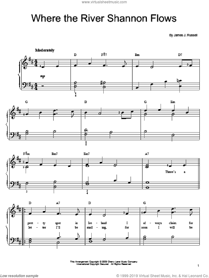 Where The River Shannon Flows sheet music for piano solo by James J. Russell, easy. Score Image Preview.
