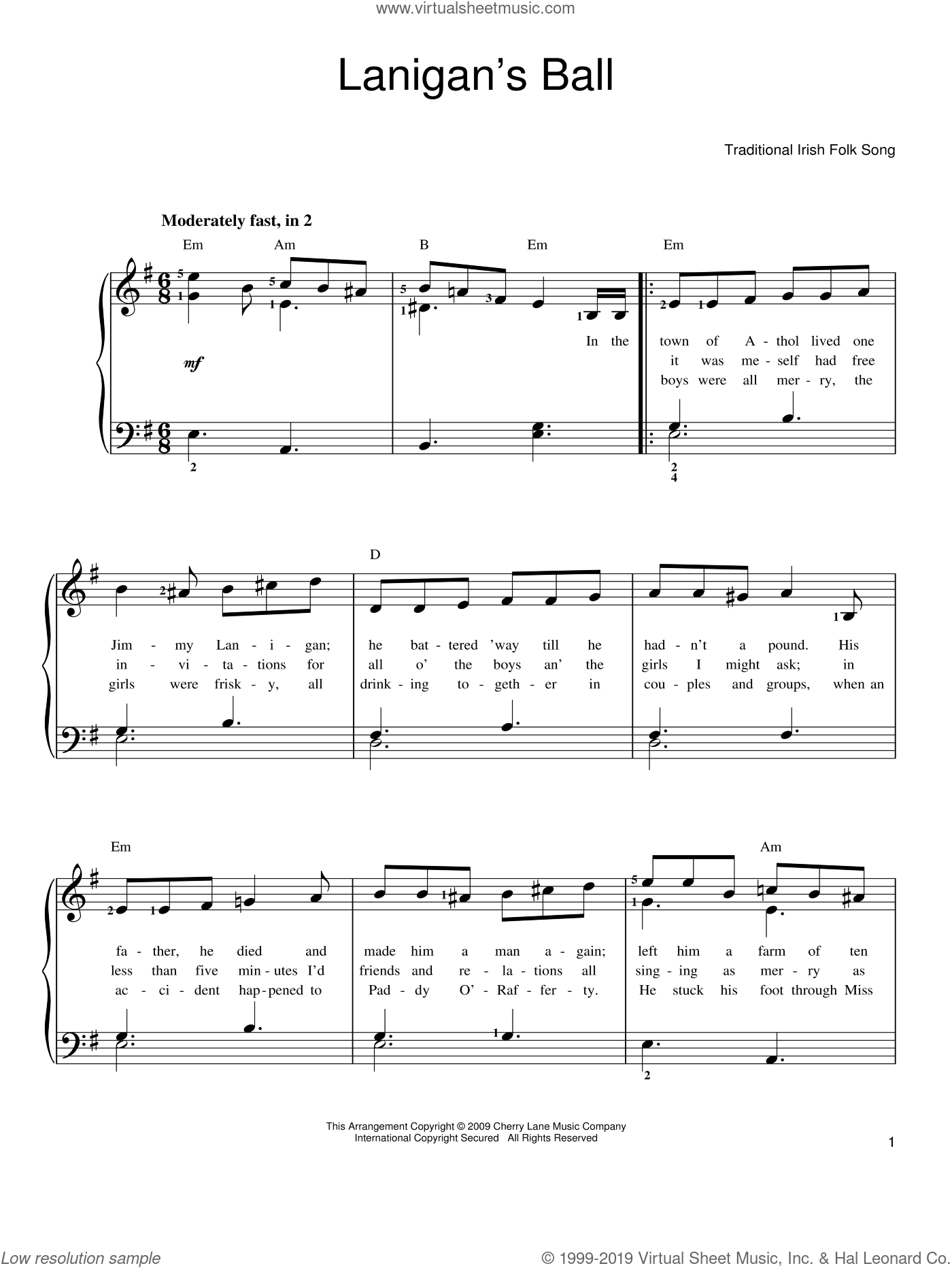 Lanigan's Ball sheet music for piano solo. Score Image Preview.