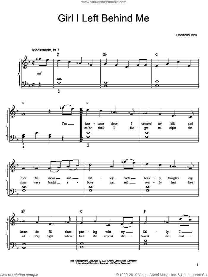 Girl I Left Behind Me sheet music for piano solo. Score Image Preview.