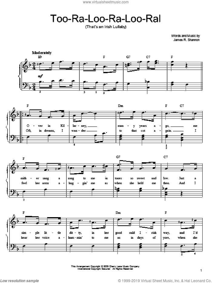 Too-Ra-Loo-Ra-Loo-Ral (That's An Irish Lullaby) sheet music for piano solo by James R. Shannon. Score Image Preview.