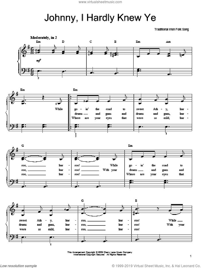 Johnny, I Hardly Knew You sheet music for piano solo, easy piano. Score Image Preview.