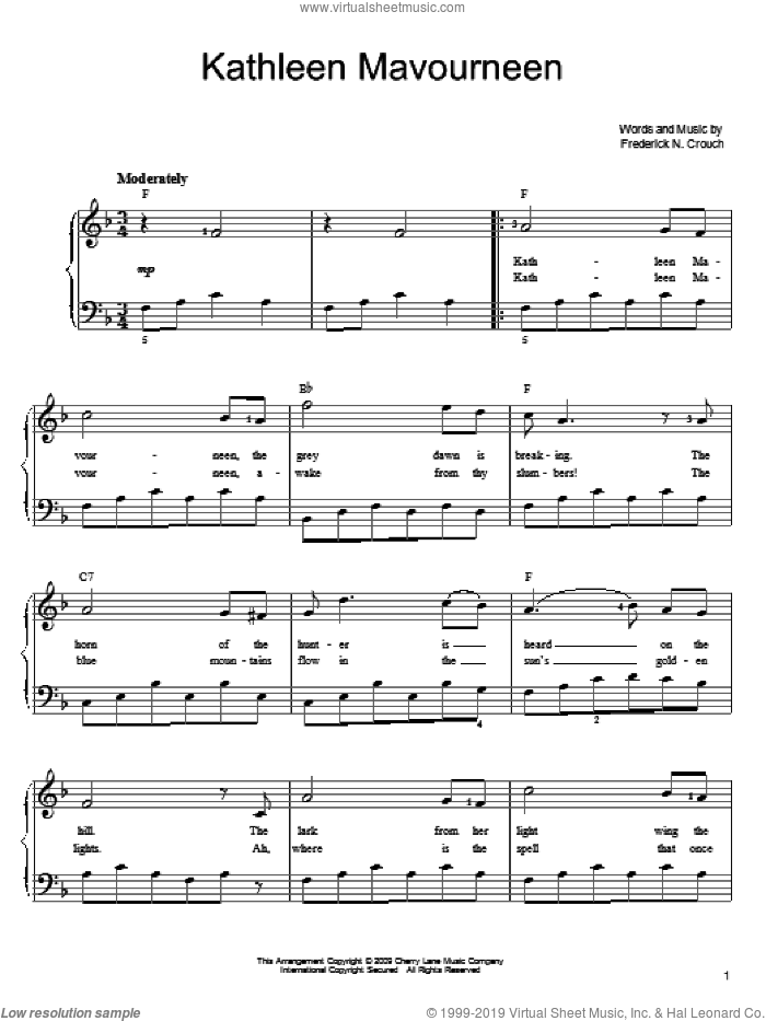 Kathleen Mavoureen sheet music for piano solo by Frederick N. Crouch, easy