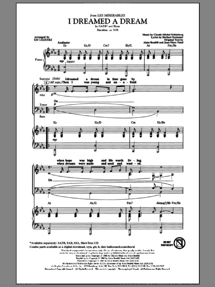 I Dreamed A Dream sheet music for choir and piano (SATB) by Alain Boublil, Claude-Michel Schonberg, Ed Lojeski, Herbert Kretzmer and Jean-Marc Natel