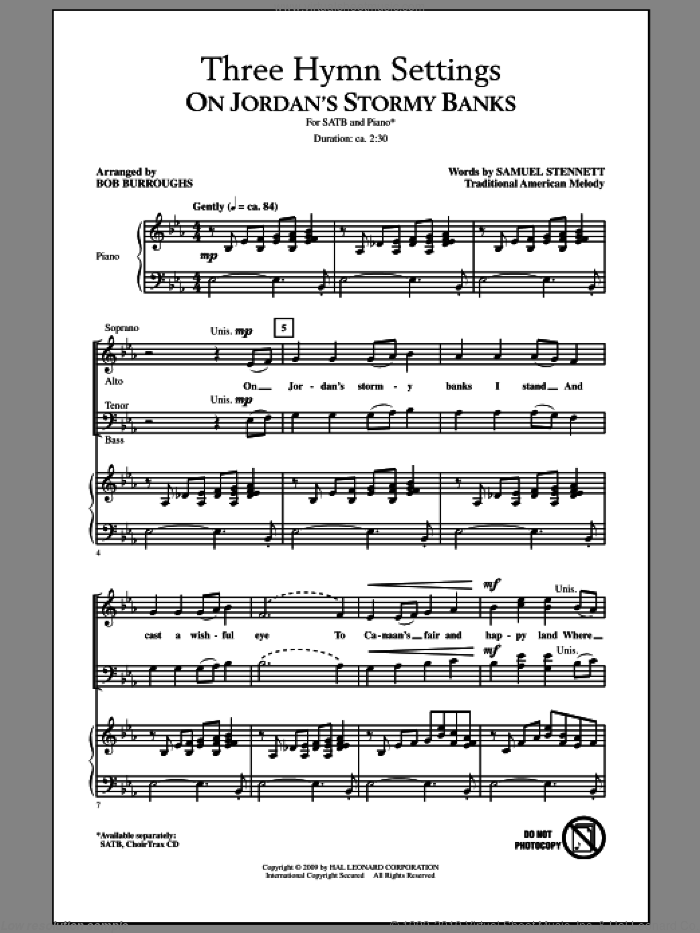 Three Hymn Settings sheet music for choir (SATB: soprano, alto, tenor, bass) by Bob Burroughs, intermediate skill level
