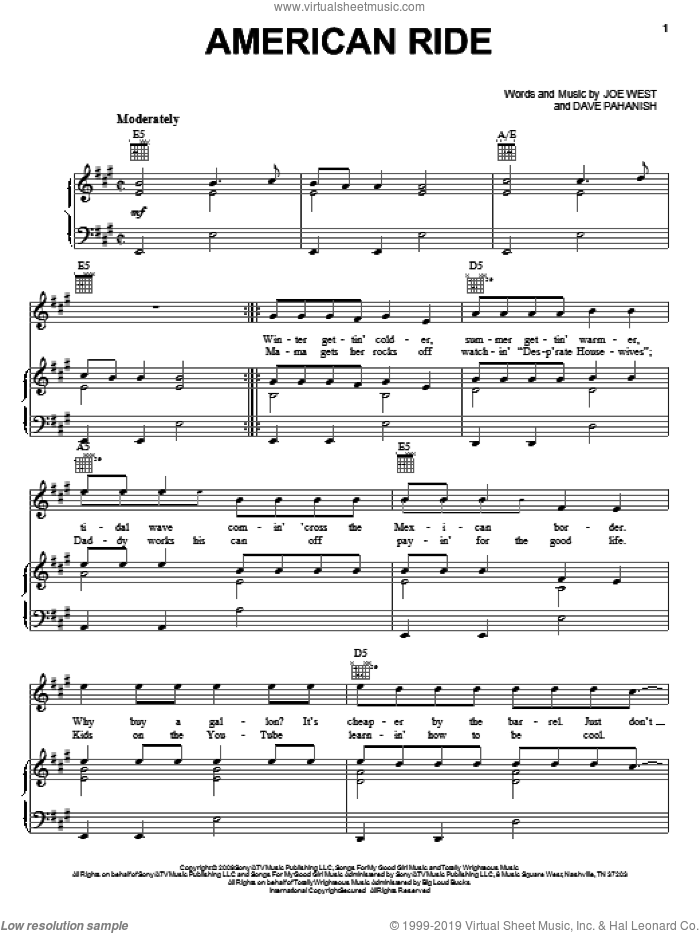 American Ride sheet music for voice, piano or guitar by Joe West, Toby Keith and Dave Pahanish
