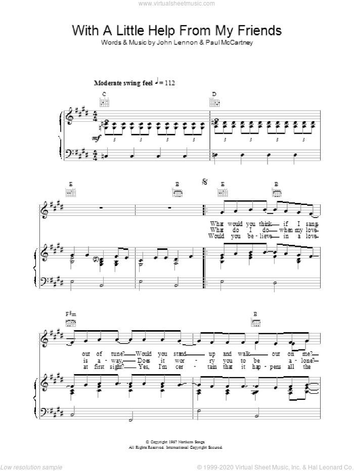 With A Little Help From My Friends sheet music for voice, piano or guitar by The Beatles. Score Image Preview.