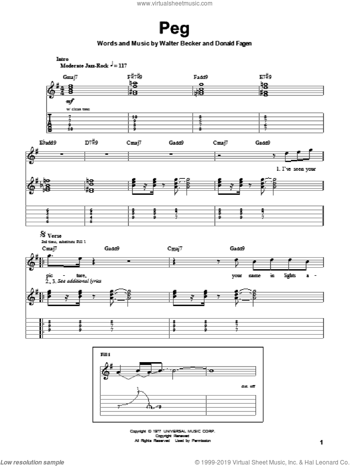 Peg sheet music for guitar (tablature, play-along) by Walter Becker and Donald Fagen. Score Image Preview.