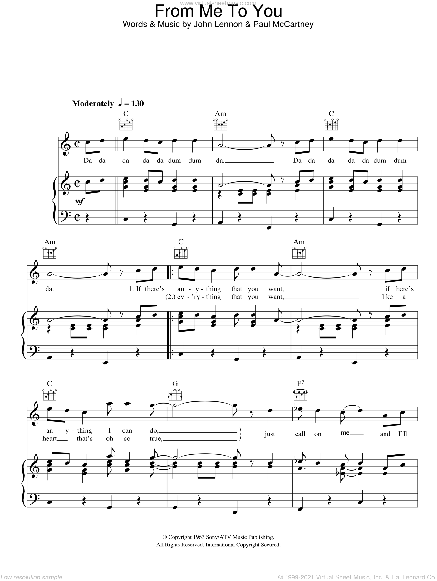 From Me To You sheet music for voice, piano or guitar by The Beatles, intermediate voice, piano or guitar. Score Image Preview.